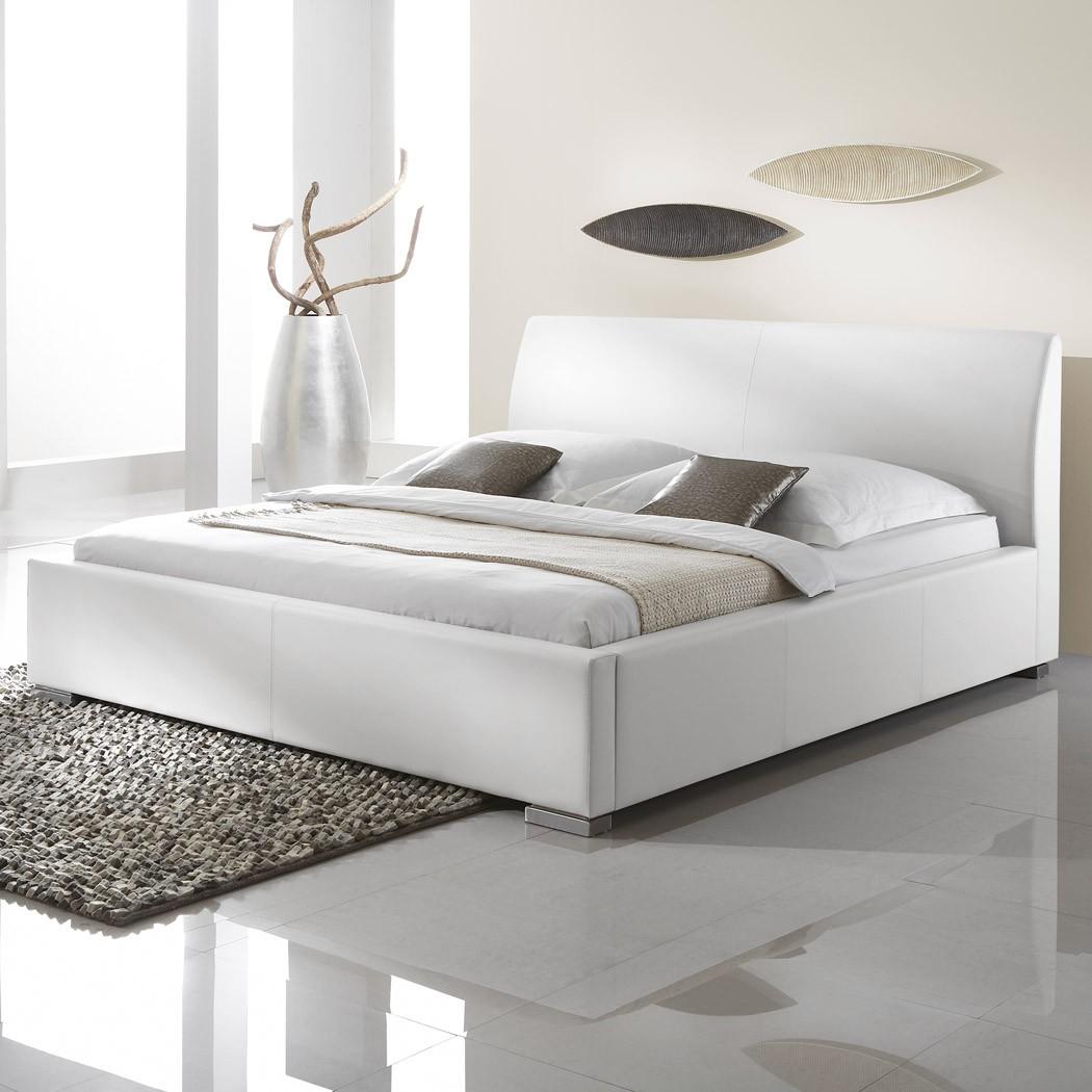 Polsterbett Kunst-Lederbett Weiß Bett Anton Komforthöhe – Bild 1
