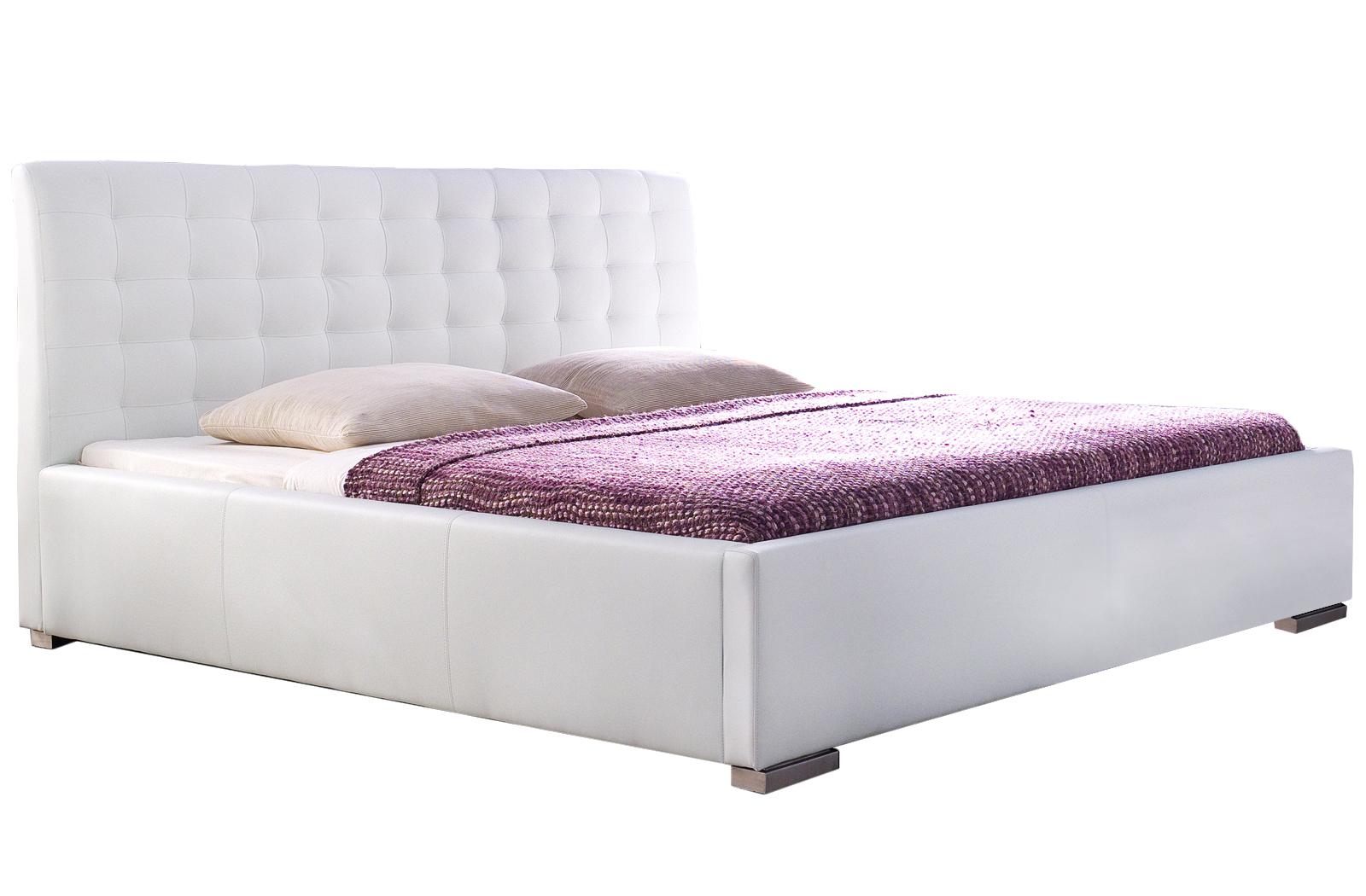 Polsterbett Kunst-Lederbett Weiß Bett Ilka Komfort – Bild 1