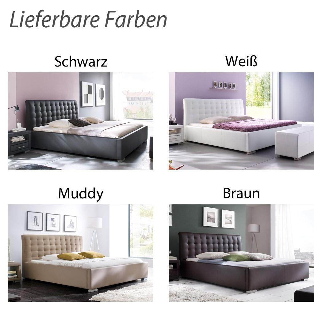 Polsterbett Kunst-Lederbett Schwarz Bett Ilka Komfort – Bild 4