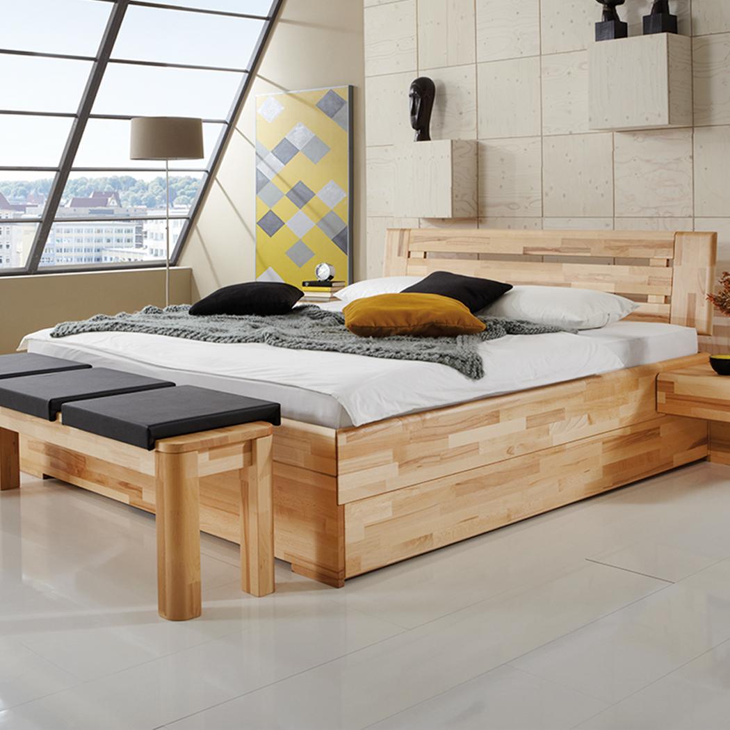 Massivholzbett Kernbuche geölt Bettgestell mit Bettkasten Doppelbett Edmon – Bild 1