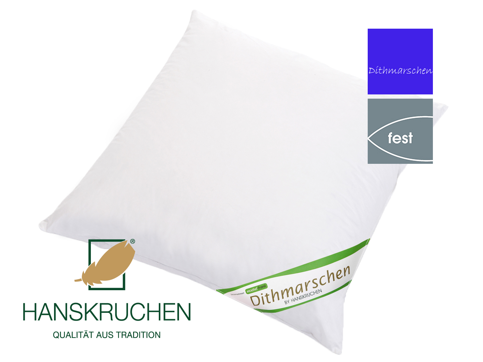 Kopfkissen neue weiße Gänsedaune und -federn Baumwolle Dithmarschen Hanskruchen – Bild 6