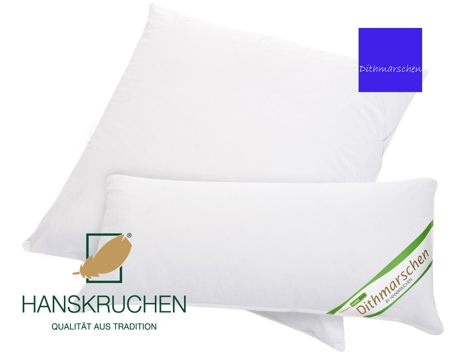 3-Kammer Kopfkissen neue weiße Gänsedaune und -federn Baumwolle Dithmarschen 80x80cm und 40x80cm – Bild 1