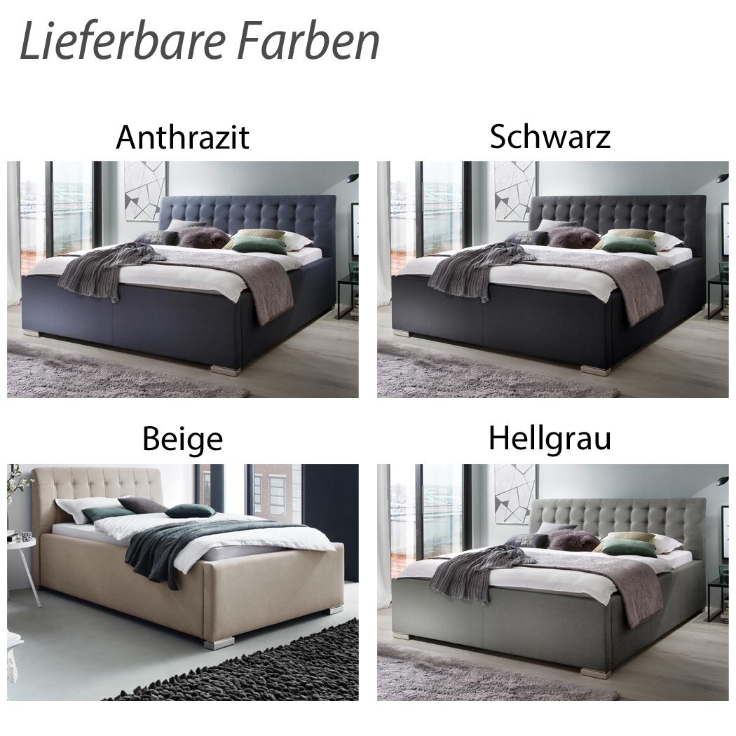 Polsterbett Stoffbezug Doppelbett Komforthöhe Lavena Hellgrau – Bild 5