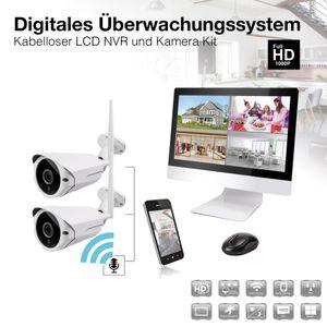 12 Zoll NVR W-LAN IP Funk Überwachungssystem mit 2 - 4 x  WiFi W-LAN Kameras mit Mikrofon 1080p