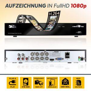 Full HD 1080p AHD 8 Kanal P2P DVR Überwachungsrecorder HDMI