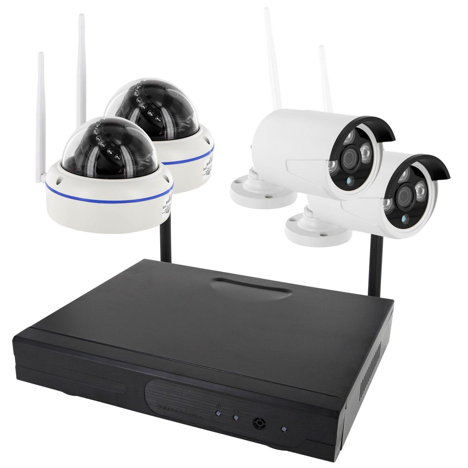 W-LAN WLAN HD WiFi NVR LAN Überwachungssystem 1,3 MP 960p 4 x WiFi IP Kameras App