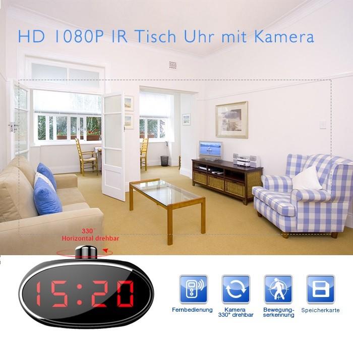 Full HD Tisch Wecker Uhr mit versteckter Kamera 140° Mikrofon Nachtsicht 32GB Oval