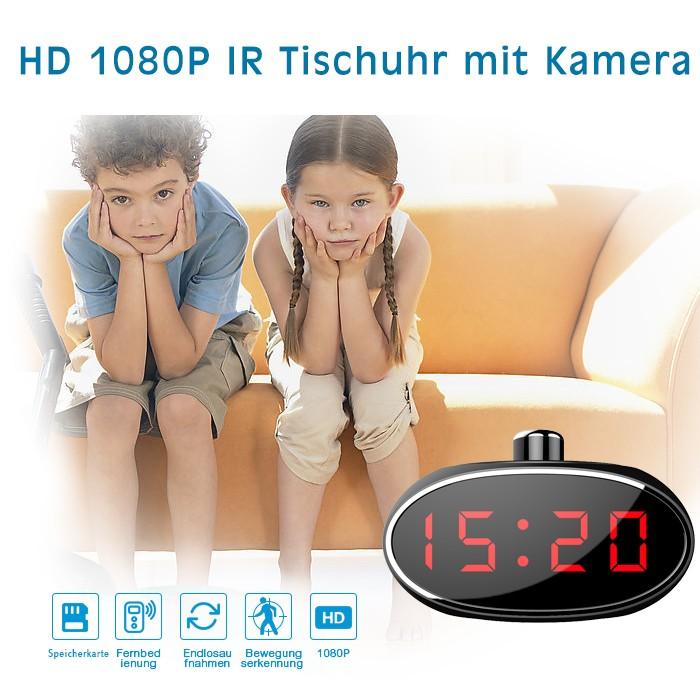 Moderne Tisch Uhr mit eingebauter Kamera 330° Grad drehbar Hohe Auflösung 1 Megapixel mit Bewegungserkennung – Bild 3
