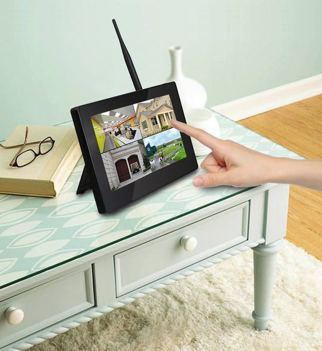 """9"""" Touchscreen HD Funk Videoüberwachung System Echtzeit inkl. 500GB Festplatte 1 - 4 Kameras Nachtsicht mit Mikrofon Audio – Bild 10"""