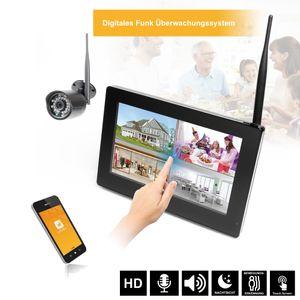 """9"""" Touchscreen HD Funk Videoüberwachung System Echtzeit inkl. 500GB Festplatte 1 - 4 Kameras Nachtsicht mit Mikrofon Audio - Bild 1"""