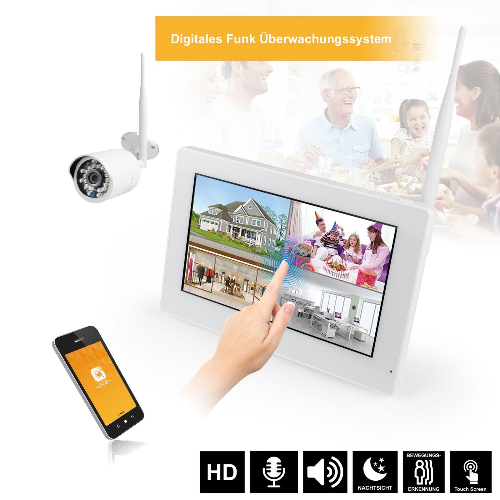 9  Touchscreen HD Funk Videoüberwachung System Echtzeit inkl. 500GB Festplatte 1 - 4 Kameras Nachtsicht mit Mikrofon Audio