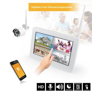 """9"""" Touchscreen HD Funk Videoüberwachung Kamera SET mit Festplatte 1 - 4 Funk Kameras Nachtsicht weiss Mikrofon Audio - Bild 1"""