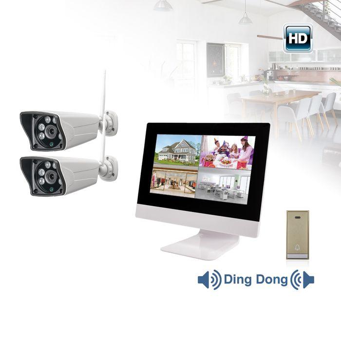 10,1 Zoll NVR W-LAN IP Funk Überwachungsmonito 2 WiFi W-LAN Kameras mit Türklinkel – Bild 1