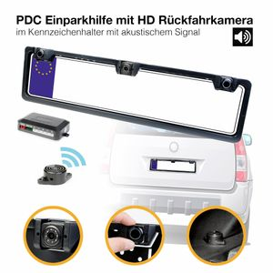 PDC Einparkhilfe mit Rückfahrkamera Rückfahrwarner 2 Sensoren mit KFZ Kamera Alarm Ton