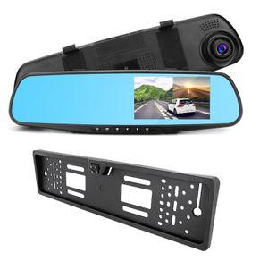 Auto DVR Rückspiegel Monitor DashCam mit Rückfahrkamera im Nummernschild mit Nachtsicht Full HD 1080p G-Sensor WDR - Bild 1