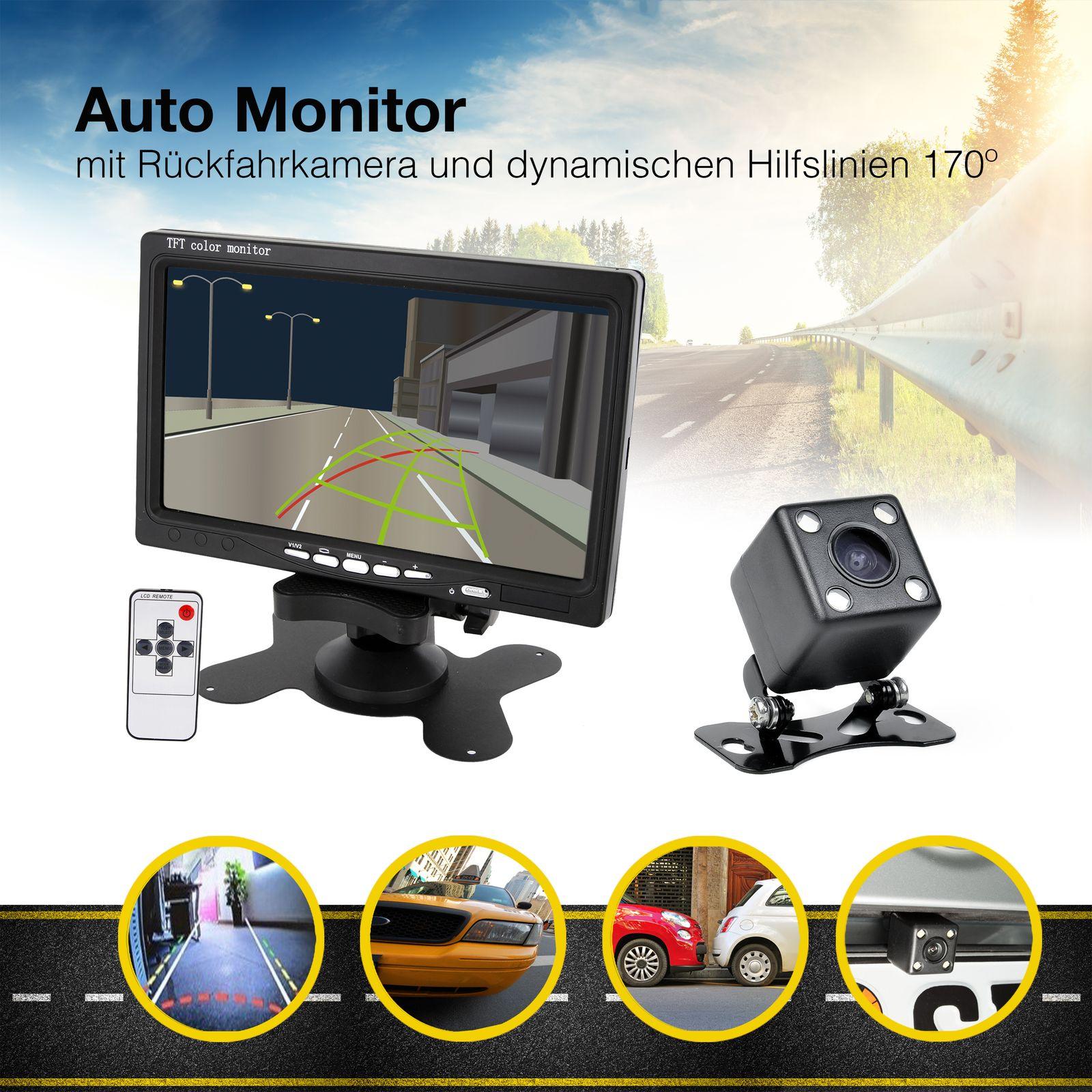 17,8cm 7 Zoll Auto TFT LCD Digital Monitor Stand Einbaurahmen Automonitor für Rückfahrkamera mit digitalem Display