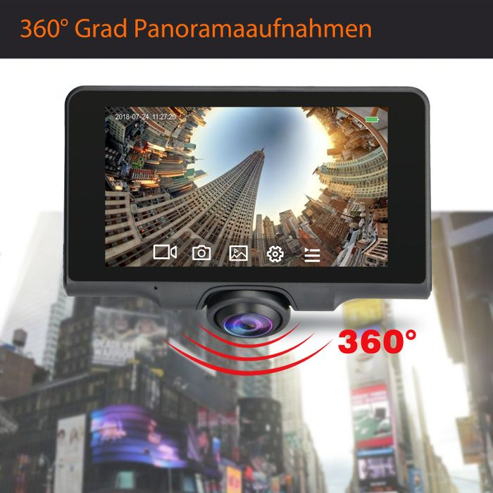 360° Panorama DVR DashCam Touchscreen Display Auto Kamera Parküberwachung mit GPS WDR – Bild 2