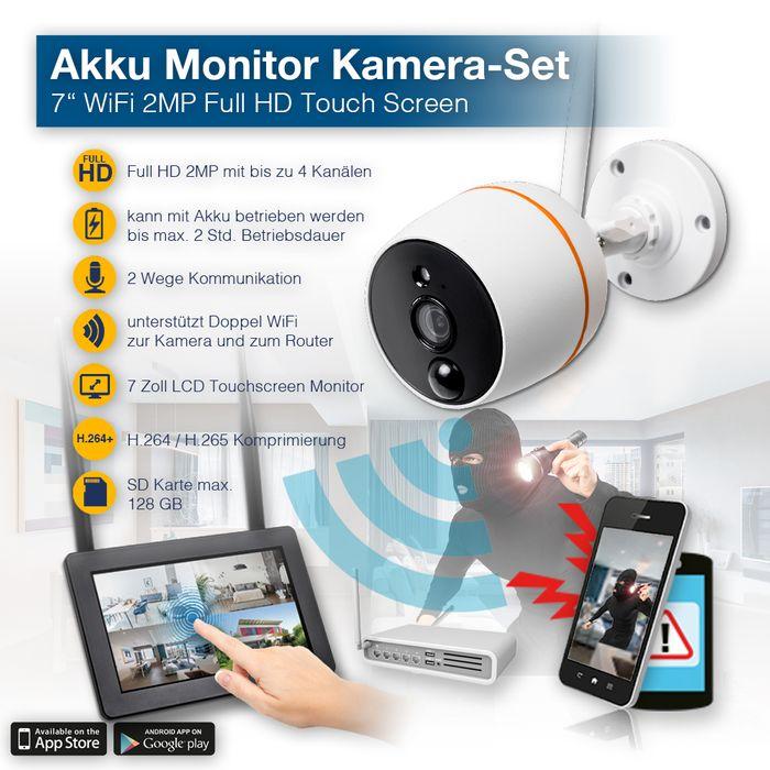 "Dual WLAN Überwachungssystem 7"" Touchscreen Monitor Akku mit 1080p 2 - 4 WLAN Überwachungsskamera Mikrofon Audio – Bild 1"