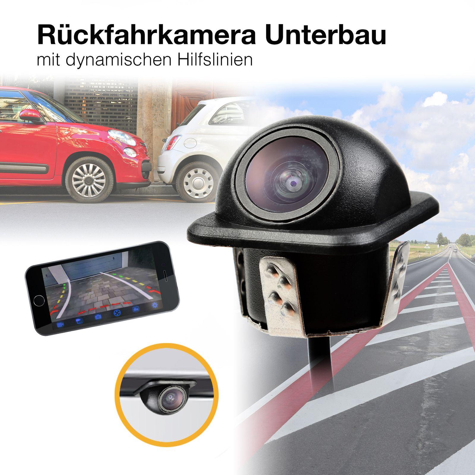 NTSC Unterbau Auto Mini Rückfahrkamera HD 170° Grad mit Nachtsicht und dynamischen Parklinien 520 TVL