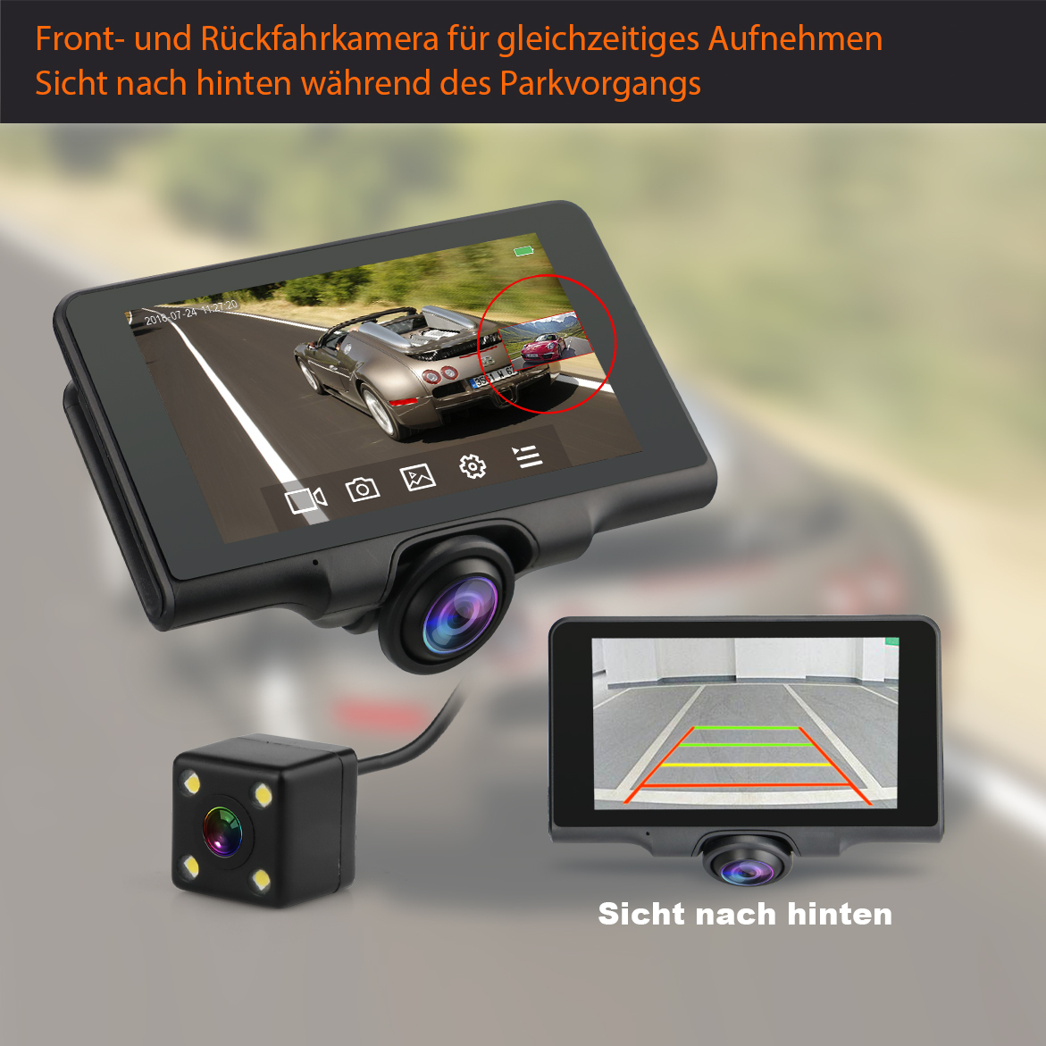 360 panorama dvr dashcam touchscreen display auto kamera. Black Bedroom Furniture Sets. Home Design Ideas