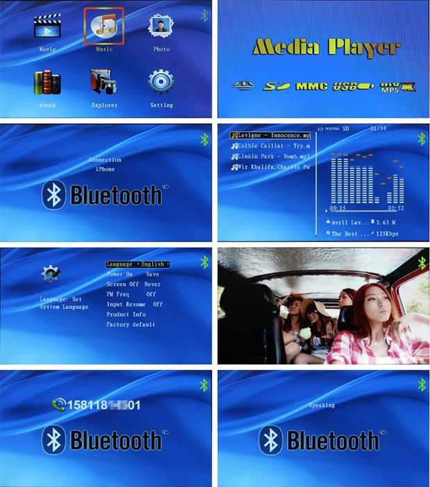 Auto Monitor Rückspiegel HD Display Bluetooth mit Freisprecher USD, SD, FM Transmitter Touchscreen – Bild 7