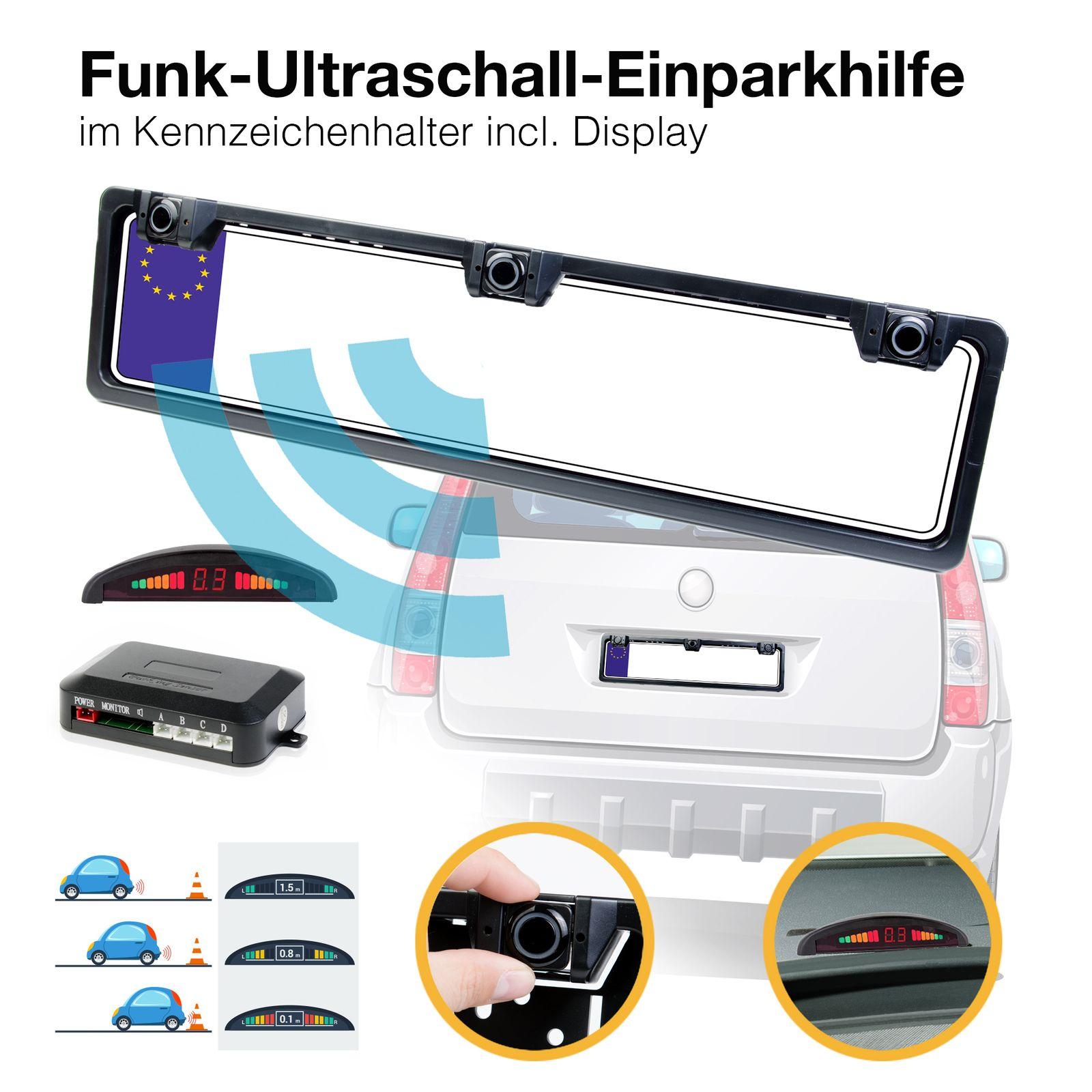 Funk Auto Einparkhilfe / KFZ Parkhilfe 4 lackierte PDC Sensoren Farbdsiplay 22 mm wasserdichte Verbinder