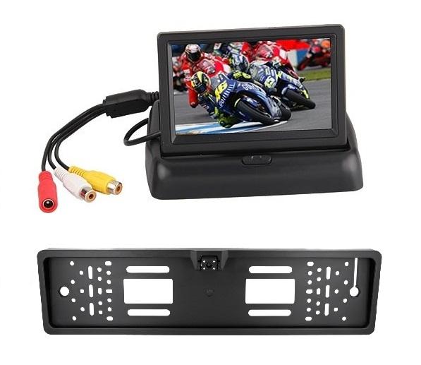 Auto Rückfahrsystem mit Klappmonitor + HD Nummernschild Rückfahrkamera Kabel 170° – Bild 1