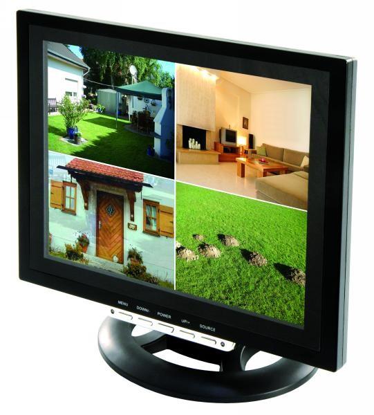 17  42cm 4 Kanal Quadbild Multiplexer CCTV TFT LCD Monitor Video Überwachungsmonitor