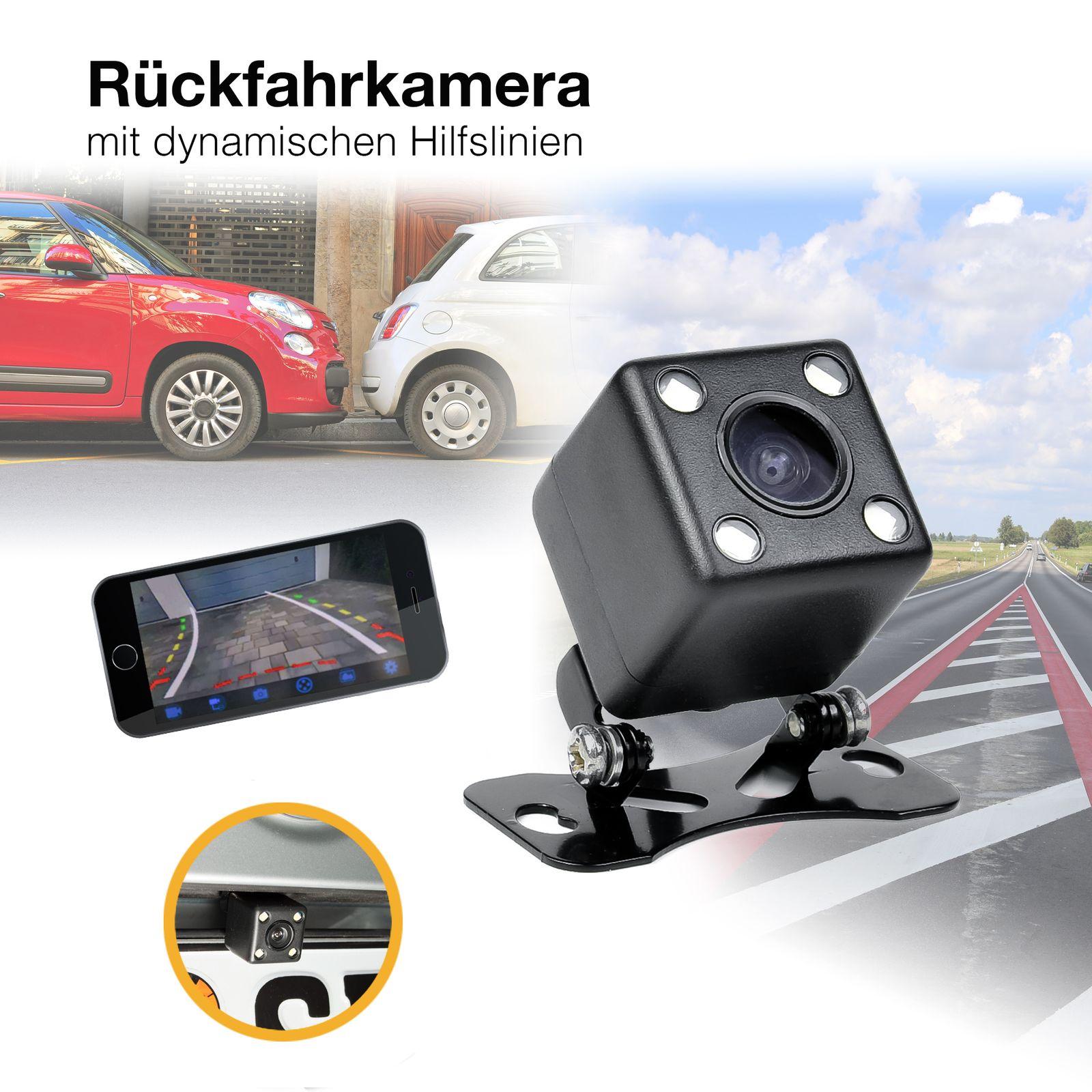 Auto Mini HD Rückfahrkamera Unterbau 170° Grad PAL mit dynamische Parklinien Hilfslinien 520TVL