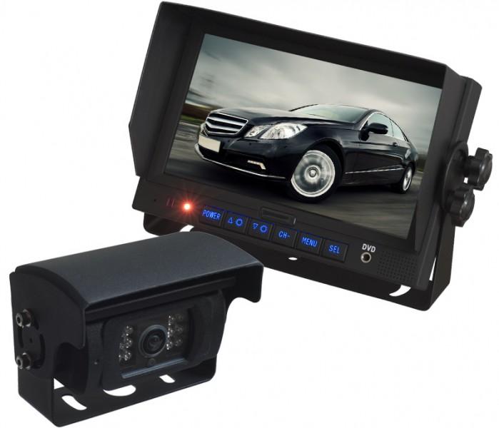 """LKW TRUCK Rückfahrssystem 7"""" Monitor +Auto Shutter Rückfahrkamera Sharp CCD 180° 10-32 V Mikrofon – Bild 1"""