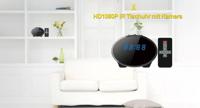 Full HD Tisch Wecker Uhr mit versteckter Kamera 140° Mikrofon Nachtsicht 32GB Oval – Bild 3