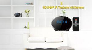 Full HD Tisch Wecker Uhr mit versteckter Kamera 140° Mikrofon Nachtsicht 32GB Oval - Bild 3