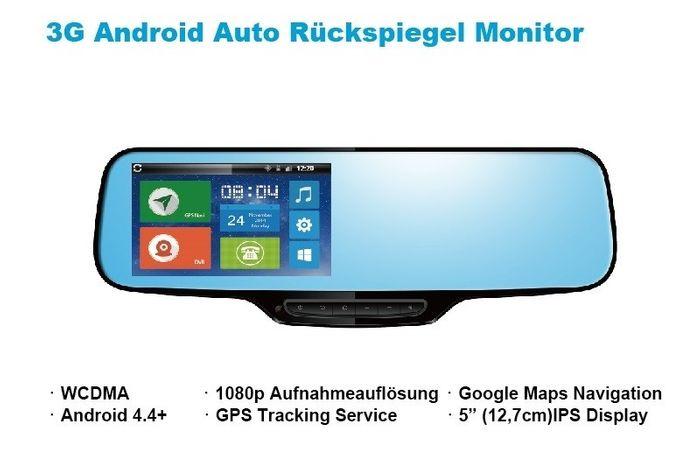 3G Auto Android Rückspiegel Monitor DashCam mit Google Maps Navigation GPS Tracker SIM Slot Smartphone App – Bild 1