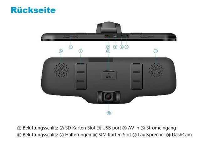 3G Auto Android Rückspiegel Monitor DashCam mit Google Maps Navigation GPS Tracker SIM Slot Smartphone App – Bild 5