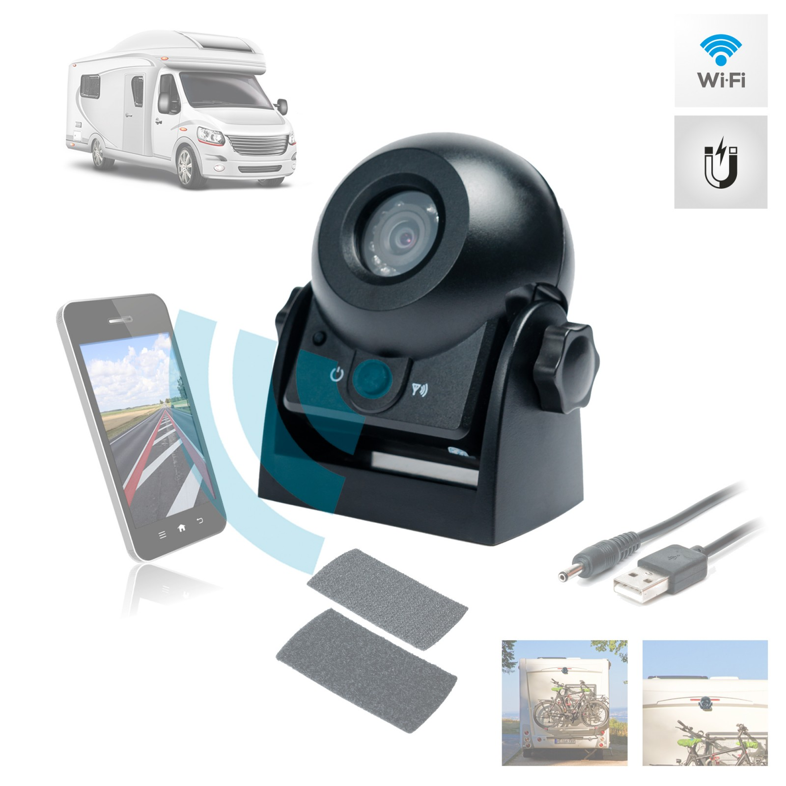 wifi auto rückfahrkamera akku batterie wiederaufladbar magnet wohnmobil lkw  pferdeanhänger transporter lkw pkw