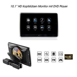"10,1"" Digital Auto Kopfstütze mit Digital HD Touchscreen Monitor 1080p DVD Player USB SD HDMI"