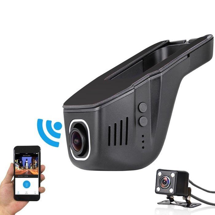 Unaufällige WiFi Full HD DashCam App-Steuerung mit Rückfahrkamera 170° Super Weitwinkel  – Bild 1