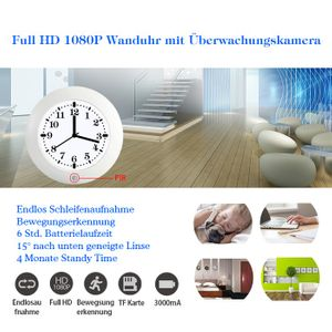Uhr mit eingebauter Full HD Überwachungskamera PIR Bewegungserkennung 2 Megapixel 4 Monate Standby 64 GB  ( 1920 x 1080 Pixel)
