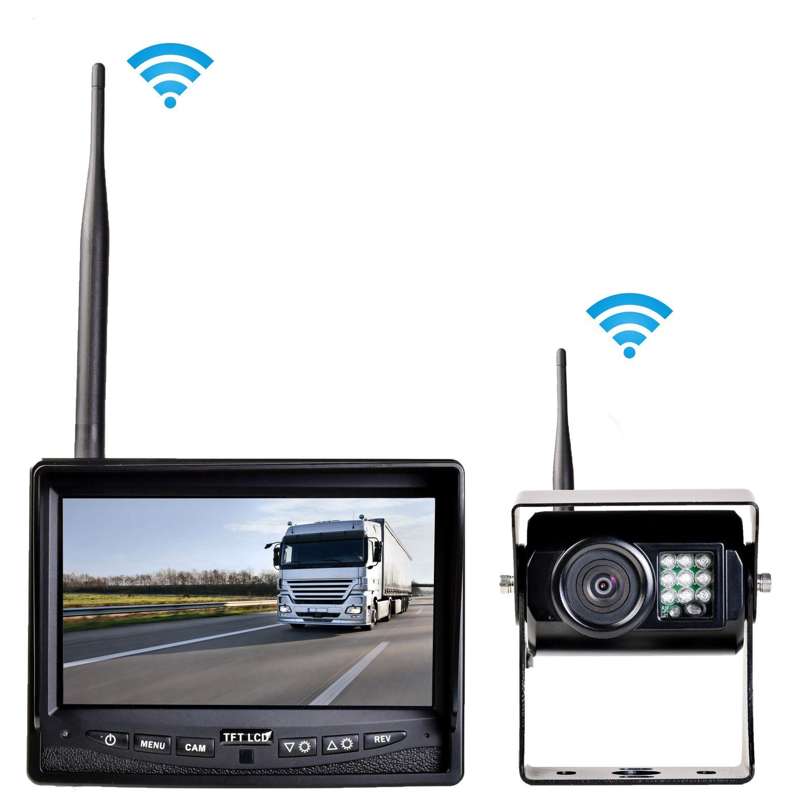 Profi Funk Rückfahrsystem Digital für Auto Wohnmobil mit 7  Monitor TFT 12V 24V mit 1 Rückfahrkamera