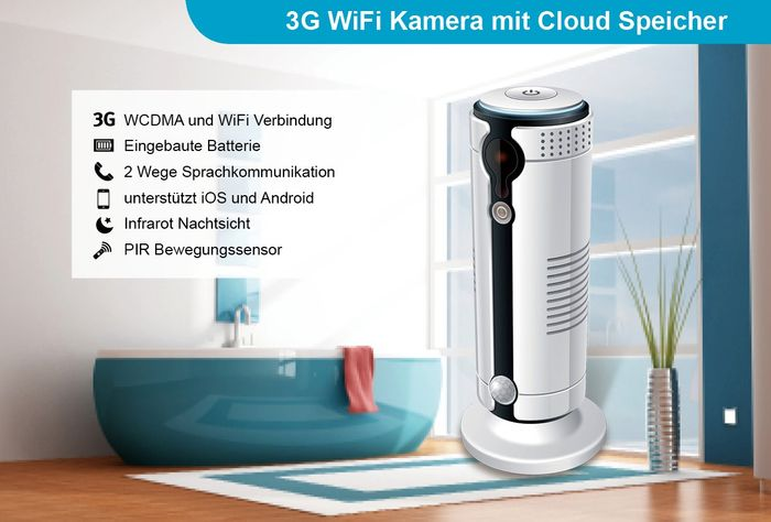 3G / GSM IP Kamera mit Akku Überwachungskamera WLAN WIFI Cloud HD 1 Megapixel 30 Tage Cloud