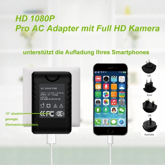 Netzteil Netzadapter Ladegerät mit eingebauter Full HD Kamera 90° 5MP 64GB – Bild 1