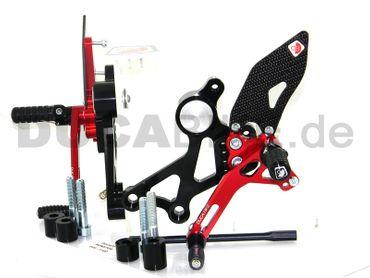Fußrastenanlage schwarz/rot Ducabike für Ducati Monster 696 796 1100 – Bild 2
