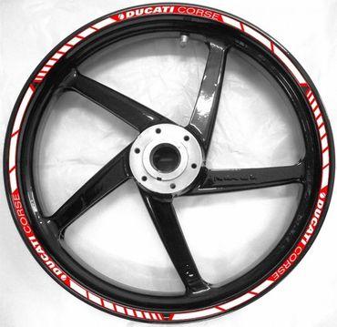 Felgenaufklebersatz rot / weiß für Ducati