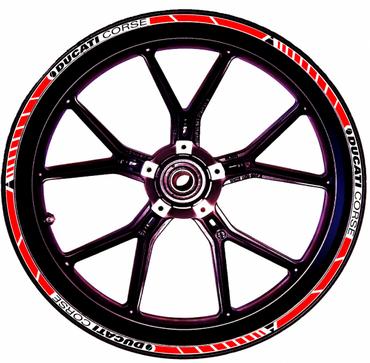 Felgenaufklebersatz rot / schwarz / weiß für Ducati