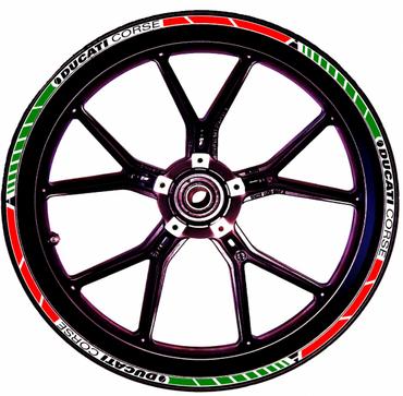 Autocollants stickers pour rebord de jante rouge / blanc / vert Ducati