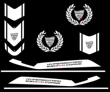 decal sticker kit Evo Corse white for Ducati Hypermotard – Image 1