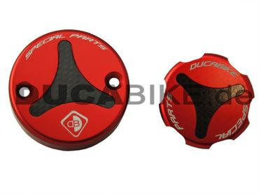 Fluid reservoir caps kit red Ducabike for Ducati – Image 1