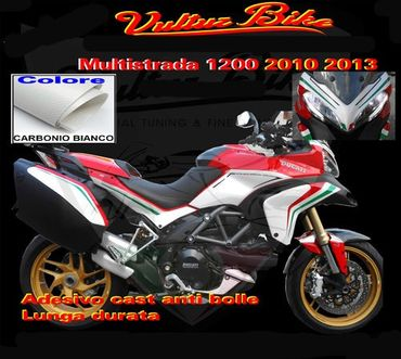 decal sticker kit tricolore -white carbon- Ducati Multistrada 1200 (2013 - 2014) – Image 1