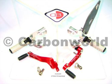 rearset silver/red Ducabike for Ducati Streetfighter 848 / 1098 – Image 1