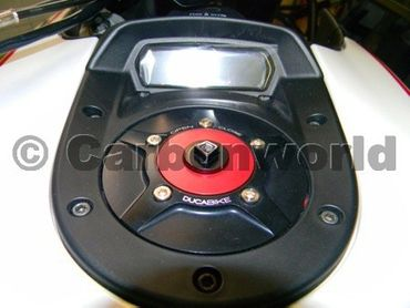 fuel tank cap black red Ducabike for Ducati Monster 696, 796, 1100, Diavel – Image 2